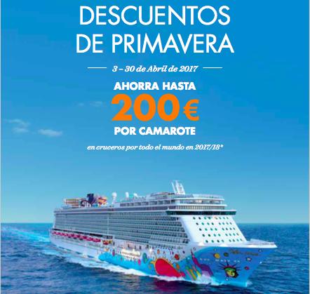 Hasta 200 euros de descuento reservando tu crucero con Norwegian Cruise Line en abril