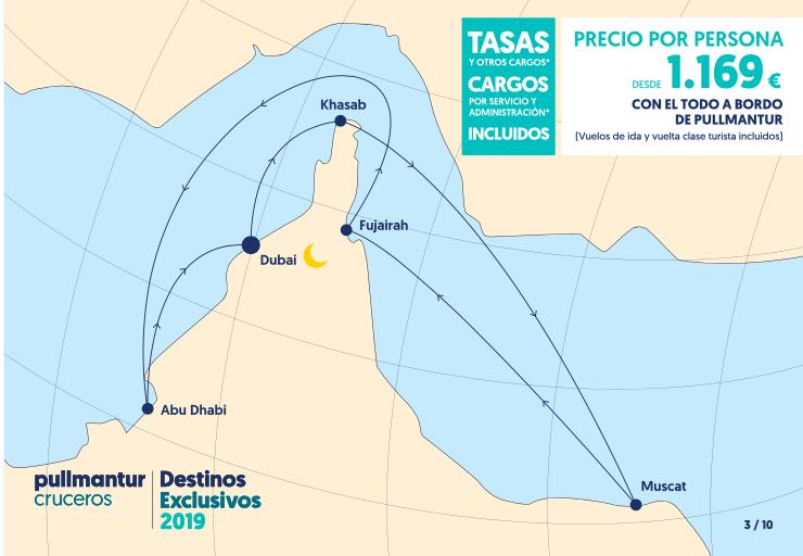 Itinerario Crucero desde Dubái en el Horizon de Pullmantur en 2018